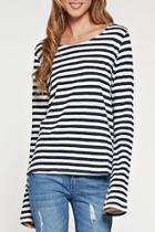 Striped Linen Top-navy