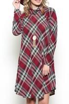 Plaid Cowl-neck Dress