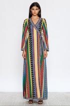 Mixed Stripe Wrap-dress