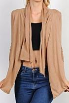 Khaki Draped Cardigan