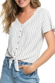 Striped Short-sleeve Button-up