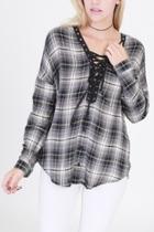 Plaid Lace-up Shirt