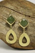 Teardrop Earrings, Olive