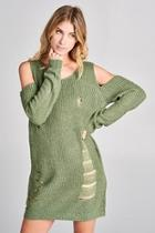 Coldshoulder Distressed Sweater
