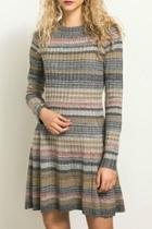 Striped Knit Sweater Dress