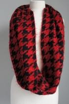 Red Houndstooth Sweater-scarf