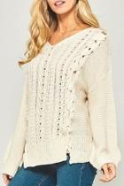 Lace-up Cableknit Sweater