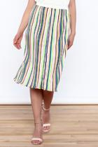 Accordion Pleat Stripe Skirt