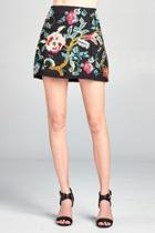 Floral Embroidered Mini-skirt