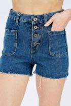 Blue Fringe Shorts