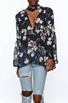 Sheer Navy Floral Blouse