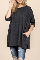 Two-tone-hacci Oversized-dropped-shoulder Pocket-tunic
