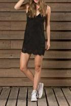 Faux Suede Black Dress