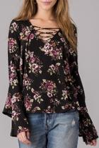 Lace Up Floral Shirt