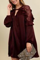 Satin Keyhole Ruffle Dress