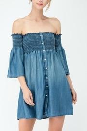 Smocked Off-shoulders Denim-dress
