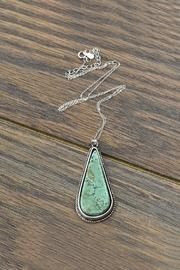 Sterling-silver-chain Natural-turquoise-stone Pendant-necklace