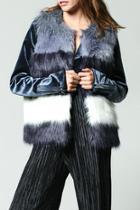 Navy Colorblock Faux Fur Vest
