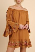 Embroidered Flounce Peasant Dress
