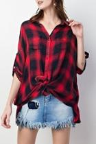 Red-navy Plaid Blouse