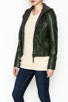 Hooded Vegan Leather Jacket