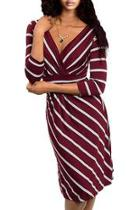 Wine Striped Dress