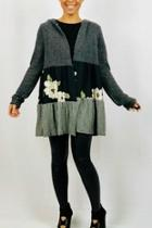 Multifabric Hooded Cardigan
