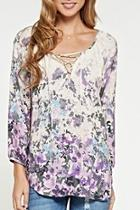 Lace-up Floral Blouse