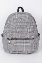 Grey Plaid Backpack