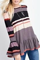 Flared-sleeves Stripped Top
