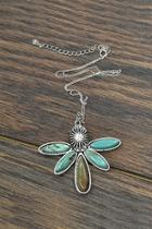 Sterling-silver-chain Natural-turquoise Pendant-necklace