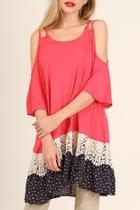 Coral Lace-ruffle-hem Dress