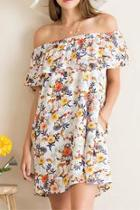 Off-shoulder Flower Dress