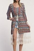 Printed Lace Duster