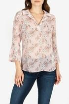 Floral-blouse With Flounce-sleeves
