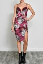 Floral Velvet Midi-dress