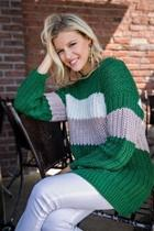 Green Colorblock Sweater