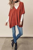 Hooded Vneck Poncho