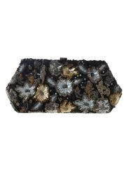 Black Sequin Floral Clutch