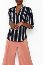 Stripe Split Neck Blouse