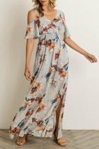 Floral Cold-shoulder Maxi-dress