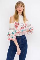 Cold-shoulder Floral Blouse