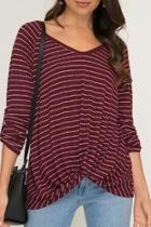 Stripped Ribbed Knit-top