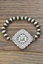Natural-turquoise Concho Stretch-bracelet