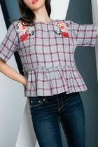Checkered Embroidered Top