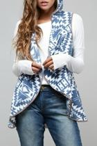 Aztec Hooded-fleece Vest