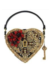 Key To My Heart Embellished Heart Lock & Key Top Handle Bag