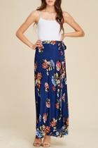 Navy Floral Maxi-skirt
