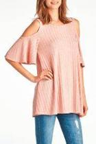 Cold Shoulders Blush Top