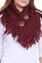 Button Accent Fringed-scarf